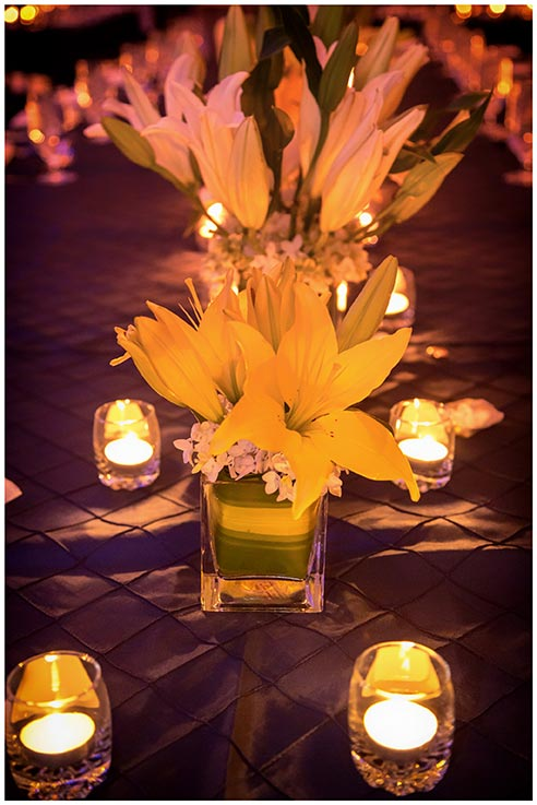 yellow lily and hydrangea centerpiece