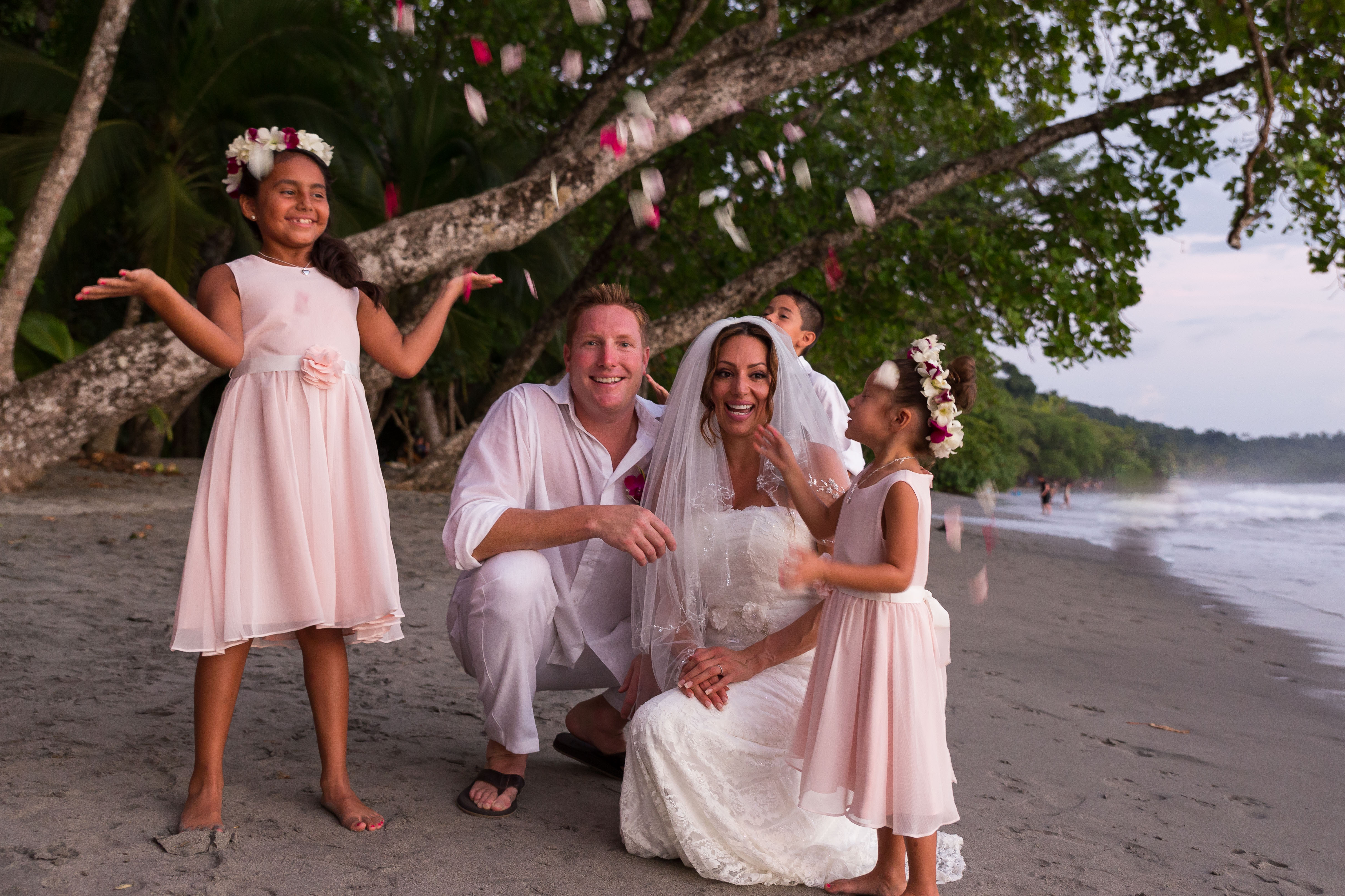 family celebration at the beach