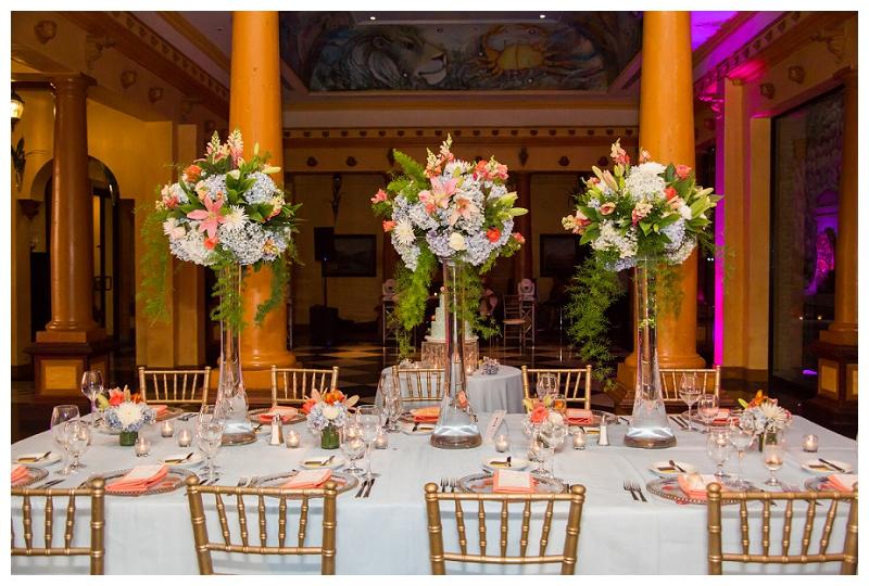 head table decor with tall arrangements
